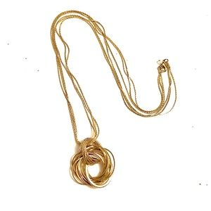 Jewelry - Endless Knot Necklace Gold rhinestone